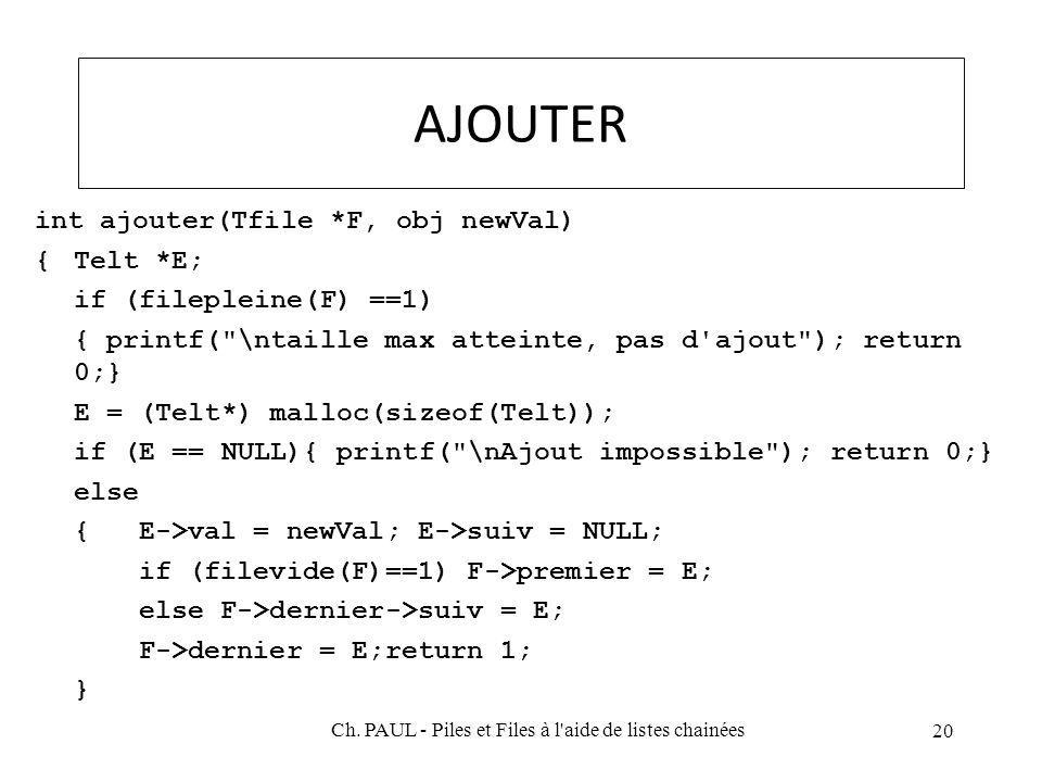 AJOUTER int ajouter(Tfile *F, obj newVal) {Telt *E; if (filepleine(F) ==1) { printf( \ntaille max atteinte, pas d ajout ); return 0;} E = (Telt*) malloc(sizeof(Telt)); if (E == NULL){ printf( \nAjout impossible ); return 0;} else {E->val = newVal; E->suiv = NULL; if (filevide(F)==1) F->premier = E; else F->dernier->suiv = E; F->dernier = E;return 1; } 20 Ch.