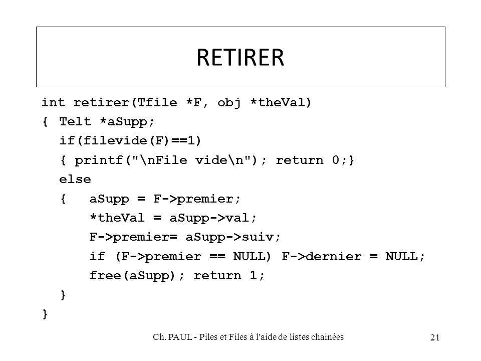 RETIRER int retirer(Tfile *F, obj *theVal) {Telt *aSupp; if(filevide(F)==1) { printf( \nFile vide\n ); return 0;} else {aSupp = F->premier; *theVal = aSupp->val; F->premier= aSupp->suiv; if (F->premier == NULL) F->dernier = NULL; free(aSupp); return 1; } 21 Ch.