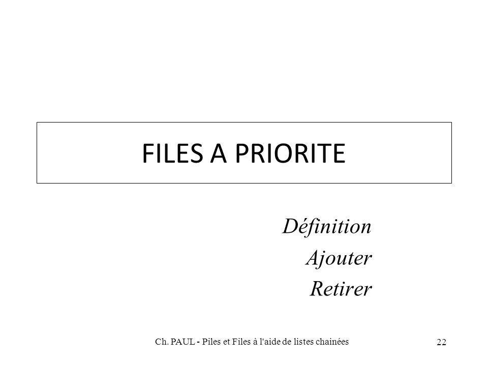 22 FILES A PRIORITE Définition Ajouter Retirer Ch. PAUL - Piles et Files à l'aide de listes chainées