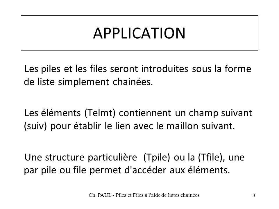 APPLICATION Les piles et les files seront introduites sous la forme de liste simplement chainées. Les éléments (Telmt) contiennent un champ suivant (s
