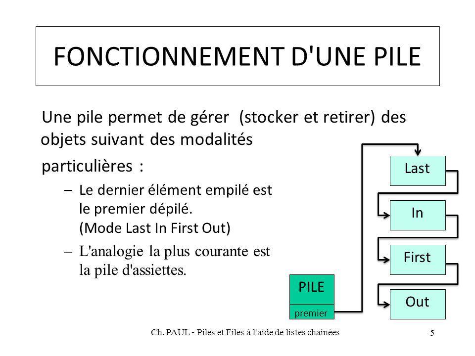 FONCTIONNEMENT D UNE PILE Une pile permet de gérer (stocker et retirer) des objets suivant des modalités particulières : –Le dernier élément empilé est le premier dépilé.