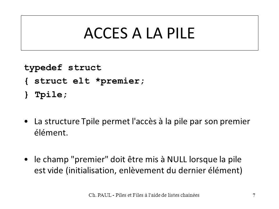 ACCES A LA PILE typedef struct {struct elt *premier; } Tpile; La structure Tpile permet l'accès à la pile par son premier élément. le champ