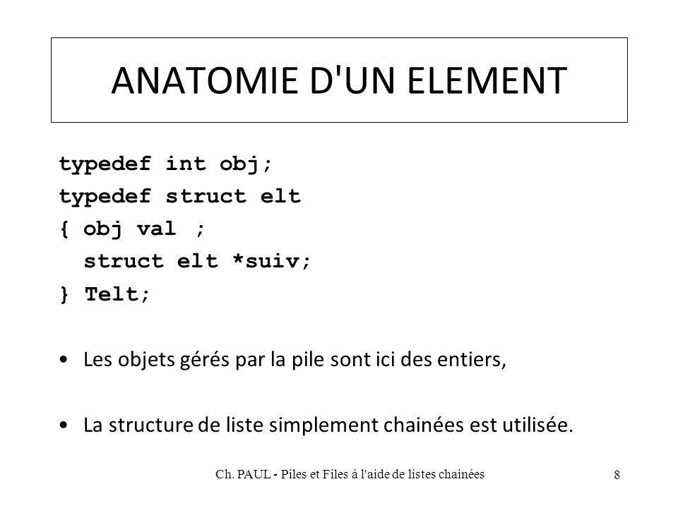 ANATOMIE D UN ELEMENT typedef int obj; typedef struct elt {obj val; struct elt *suiv; } Telt; Les objets gérés par la pile sont ici des entiers, La structure de liste simplement chainées est utilisée.