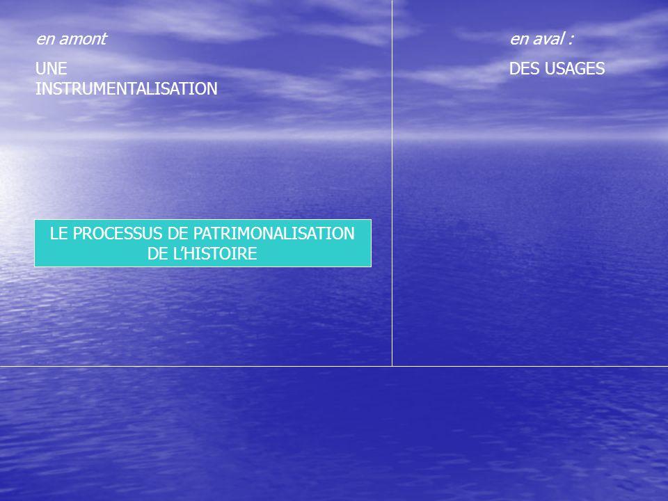 LE PROCESSUS DE PATRIMONALISATION DE L'HISTOIRE en aval : DES USAGES en amont UNE INSTRUMENTALISATION HISTOIREMEMOIRE Les flèches épaisses rendent compte de l'instrumentalisation de l'Histoire, les flèches fines traduisent des équivalences ; les connecteurs permettent de saisir des conséquences concrètes et observables au processus décrit RECIT Prétendant rendre compte objectivement et scientifiquement du passé, enquêtes de l'histoire dite « savante » HERITAGE D'un passé « sacralisé » et vu par un groupe comme un bien commun à valoriser, conserver, ou restaurer… Commémorations et Museification Fabrication ou consolidation d'une identité collective Désignation de lieux de mémoires, d'événements et de héros emblématiques Revendications Tabous et Occultations TENSIONS (Querelles Mémorielles) LE RÔLE DE L'HISTORIEN Compréhension de l'Histoire Etude des acteurs, des phénomènes Critique de la Mémoire