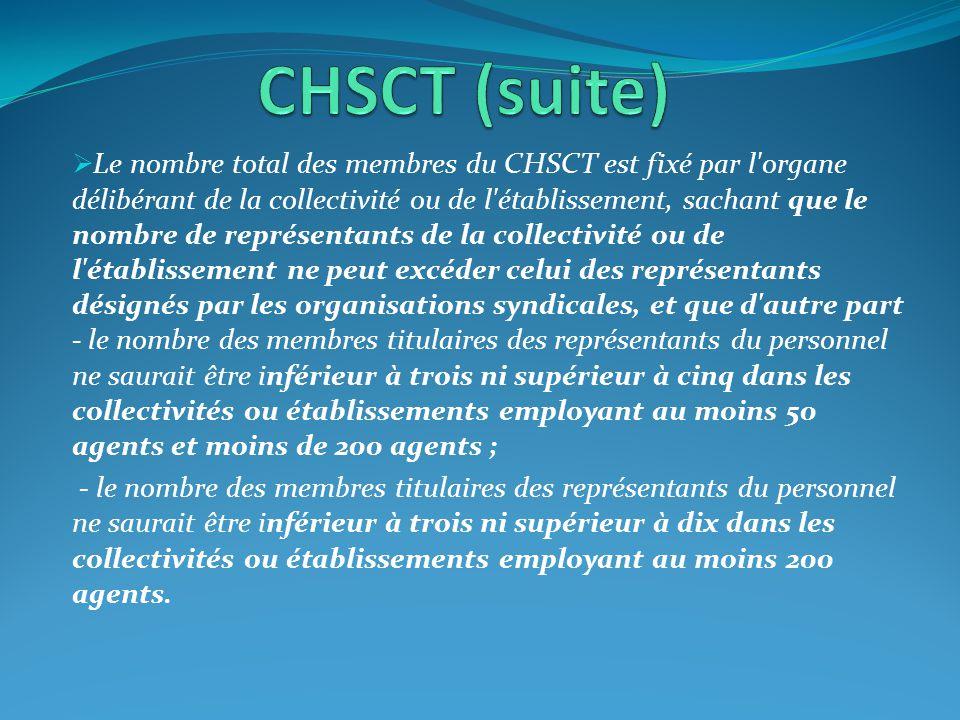  Le nombre total des membres du CHSCT est fixé par l'organe délibérant de la collectivité ou de l'établissement, sachant que le nombre de représentan