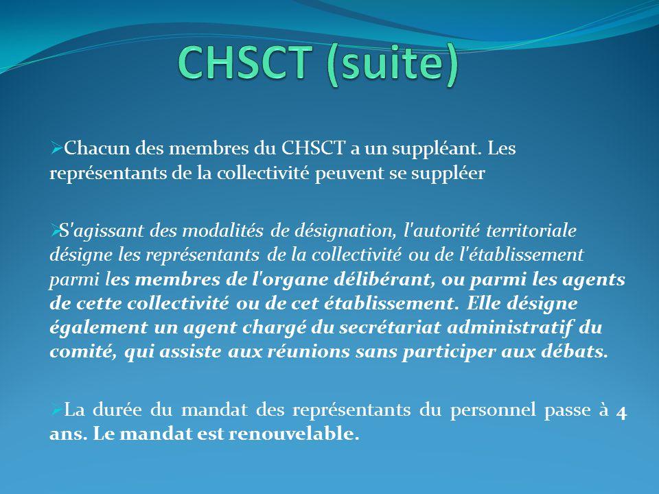  Chacun des membres du CHSCT a un suppléant. Les représentants de la collectivité peuvent se suppléer  S'agissant des modalités de désignation, l'au