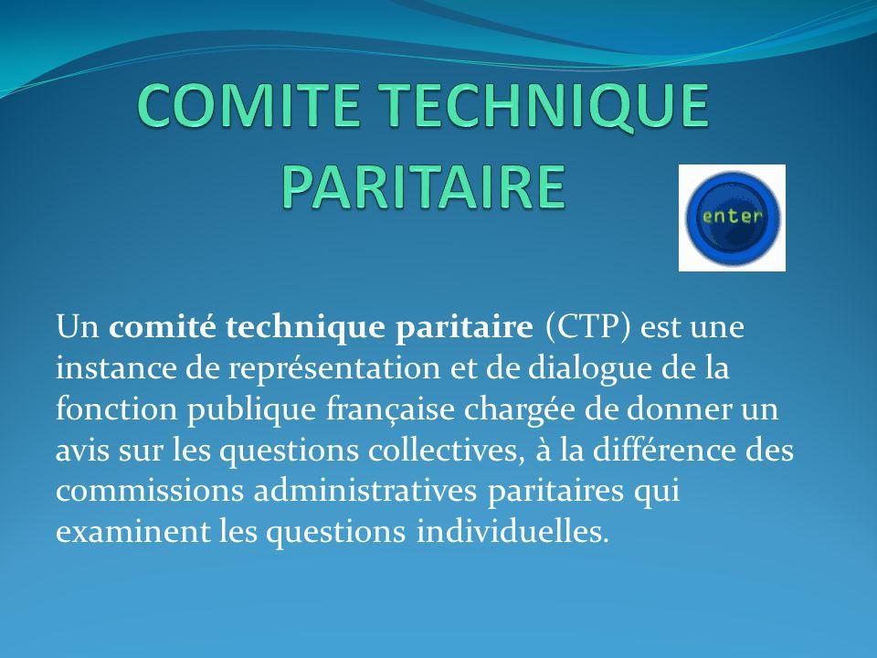 Un comité technique paritaire (CTP) est une instance de représentation et de dialogue de la fonction publique française chargée de donner un avis sur