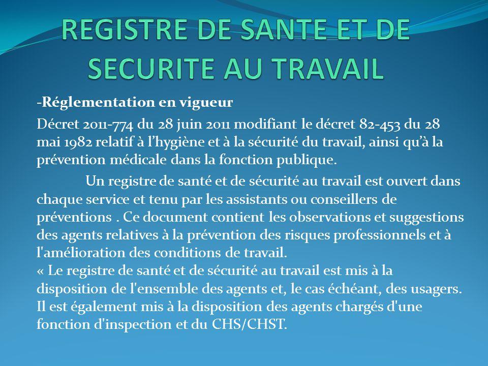 -Réglementation en vigueur Décret 2011-774 du 28 juin 2011 modifiant le décret 82-453 du 28 mai 1982 relatif à l'hygiène et à la sécurité du travail,