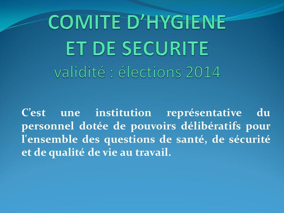 C'est une institution représentative du personnel dotée de pouvoirs délibératifs pour l'ensemble des questions de santé, de sécurité et de qualité de