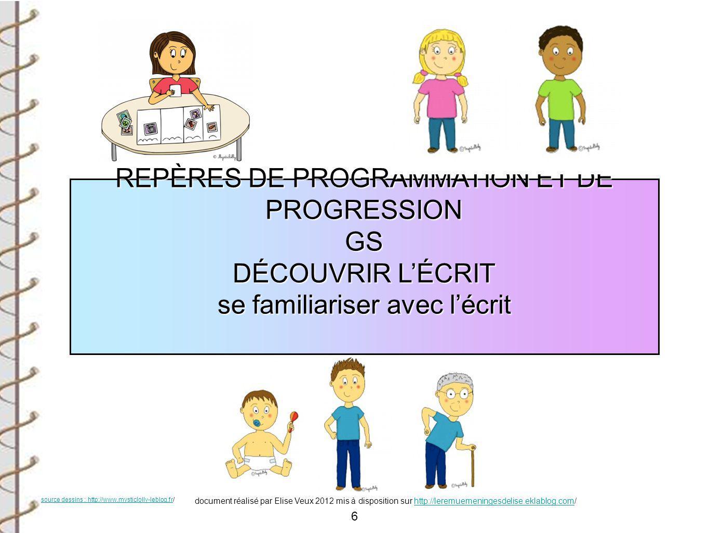 6 REPÈRES DE PROGRAMMATION ET DE PROGRESSION GS DÉCOUVRIR L'ÉCRIT se familiariser avec l'écrit source dessins : http://www.mysticlolly-leblog.frsource
