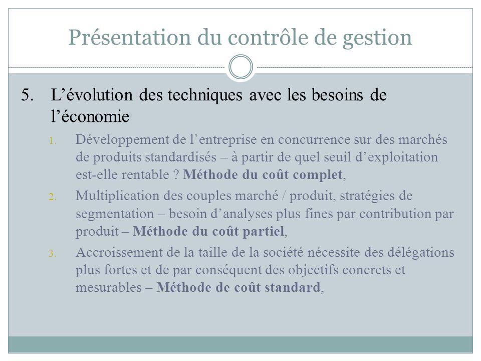 Présentation du contrôle de gestion 5. L'évolution des techniques avec les besoins de l'économie 1. Développement de l'entreprise en concurrence sur d