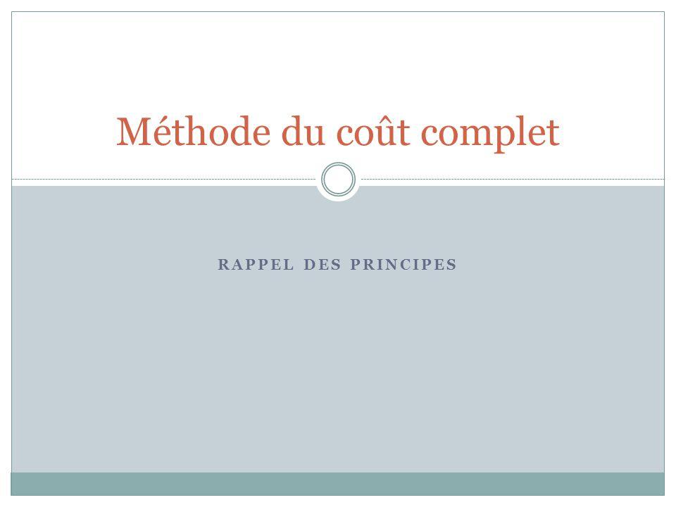 RAPPEL DES PRINCIPES Méthode du coût complet