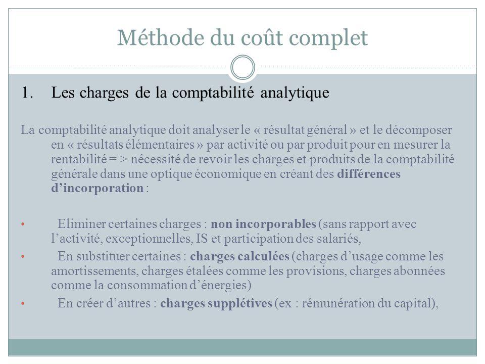1.Les charges de la comptabilité analytique La comptabilité analytique doit analyser le « résultat général » et le décomposer en « résultats élémentai