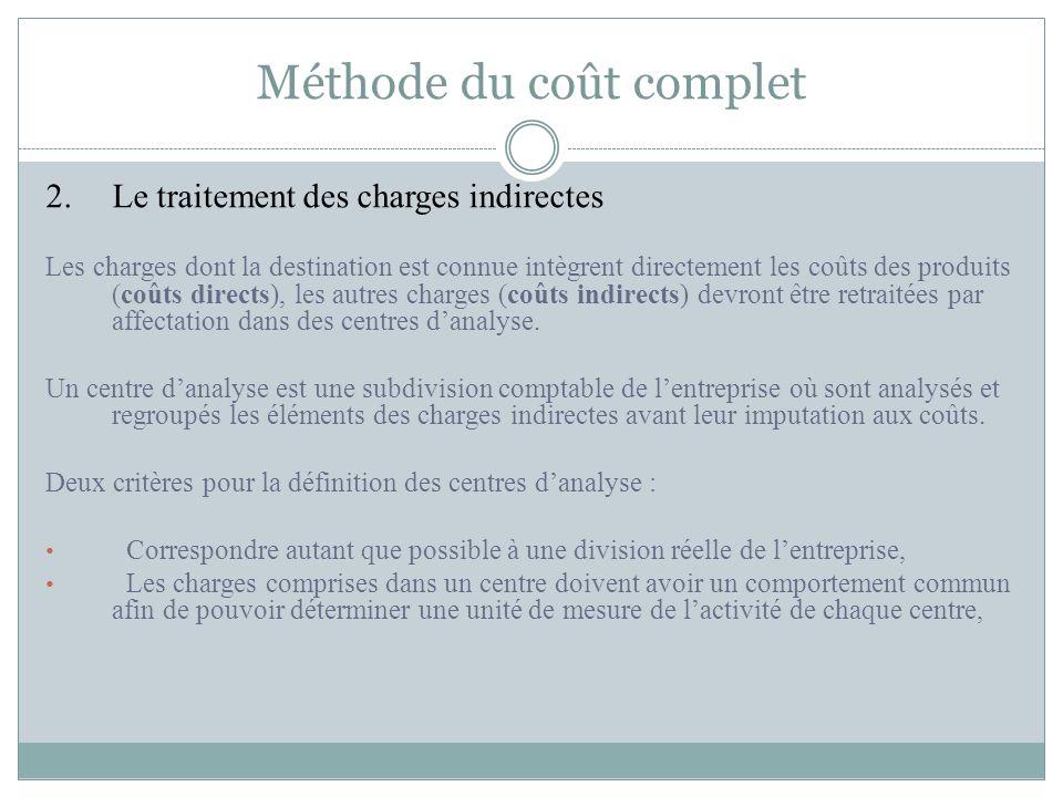 Méthode du coût complet 2.Le traitement des charges indirectes Les charges dont la destination est connue intègrent directement les coûts des produits