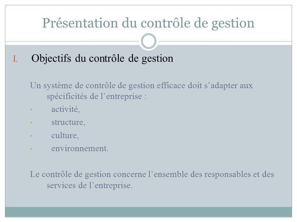 Présentation du contrôle de gestion I. Objectifs du contrôle de gestion Un système de contrôle de gestion efficace doit s'adapter aux spécificités de