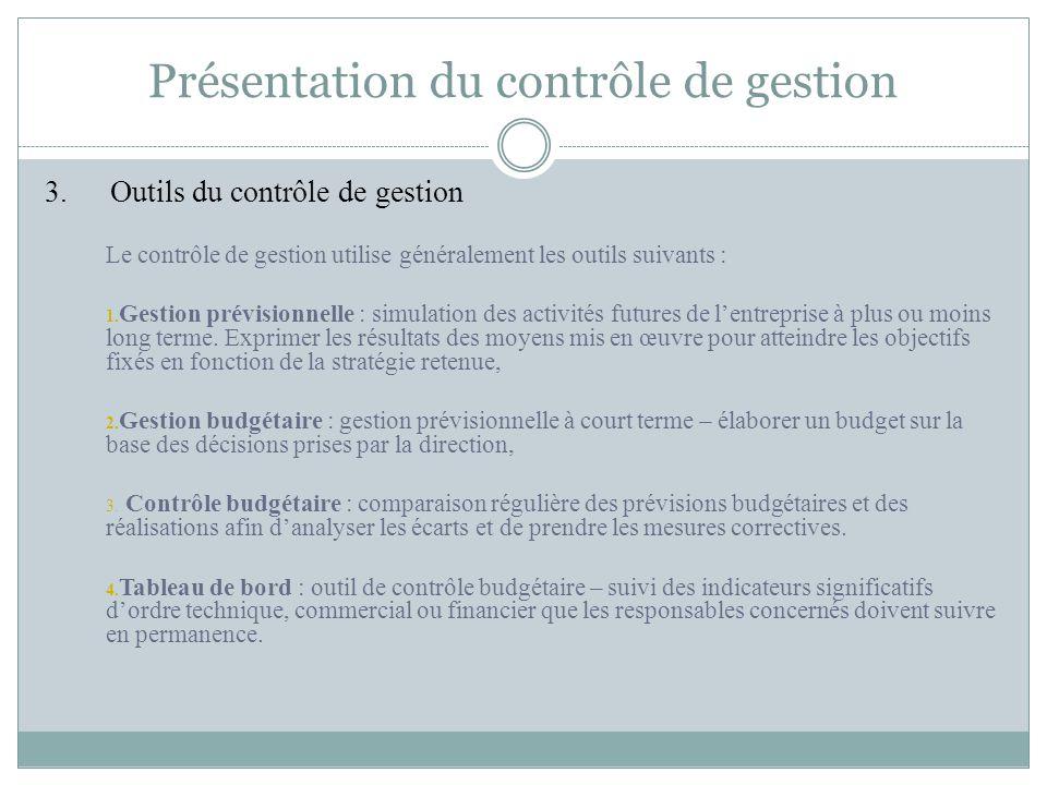 Présentation du contrôle de gestion 3. Outils du contrôle de gestion Le contrôle de gestion utilise généralement les outils suivants : 1. Gestion prév
