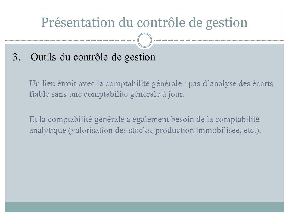 Présentation du contrôle de gestion 3. Outils du contrôle de gestion Un lieu étroit avec la comptabilité générale : pas d'analyse des écarts fiable sa