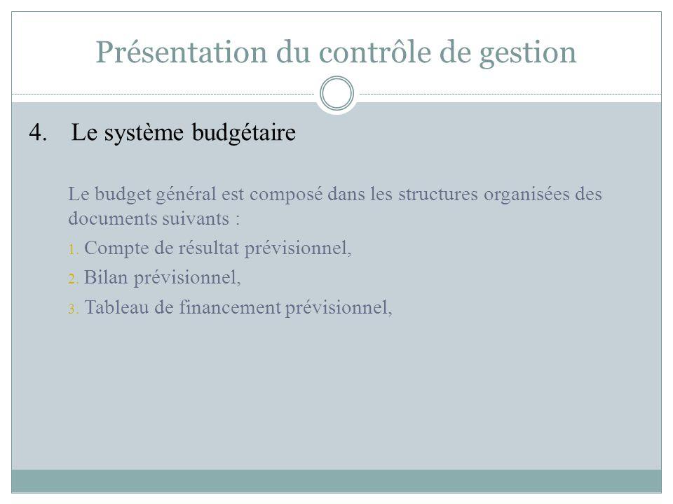 Présentation du contrôle de gestion 4. Le système budgétaire Le budget général est composé dans les structures organisées des documents suivants : 1.