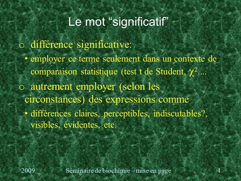 Le mot significatif o différence significative: employer ce terme seulement dans un contexte de comparaison statistique (test t de Student,  2....
