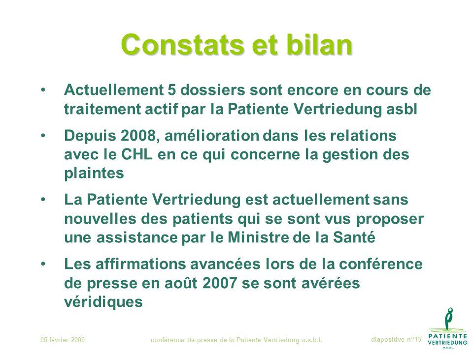 Constats et bilan 05 février 2009conférence de presse de la Patiente Vertriedung a.s.b.l.