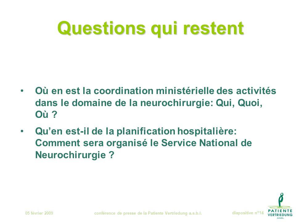 Questions qui restent 05 février 2009conférence de presse de la Patiente Vertriedung a.s.b.l.