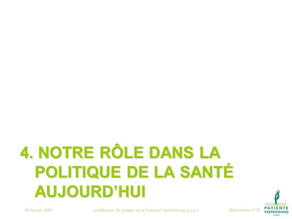 4. NOTRE RÔLE DANS LA POLITIQUE DE LA SANTÉ AUJOURD'HUI 05 février 2009conférence de presse de la Patiente Vertriedung a.s.b.l.diapositive n°15