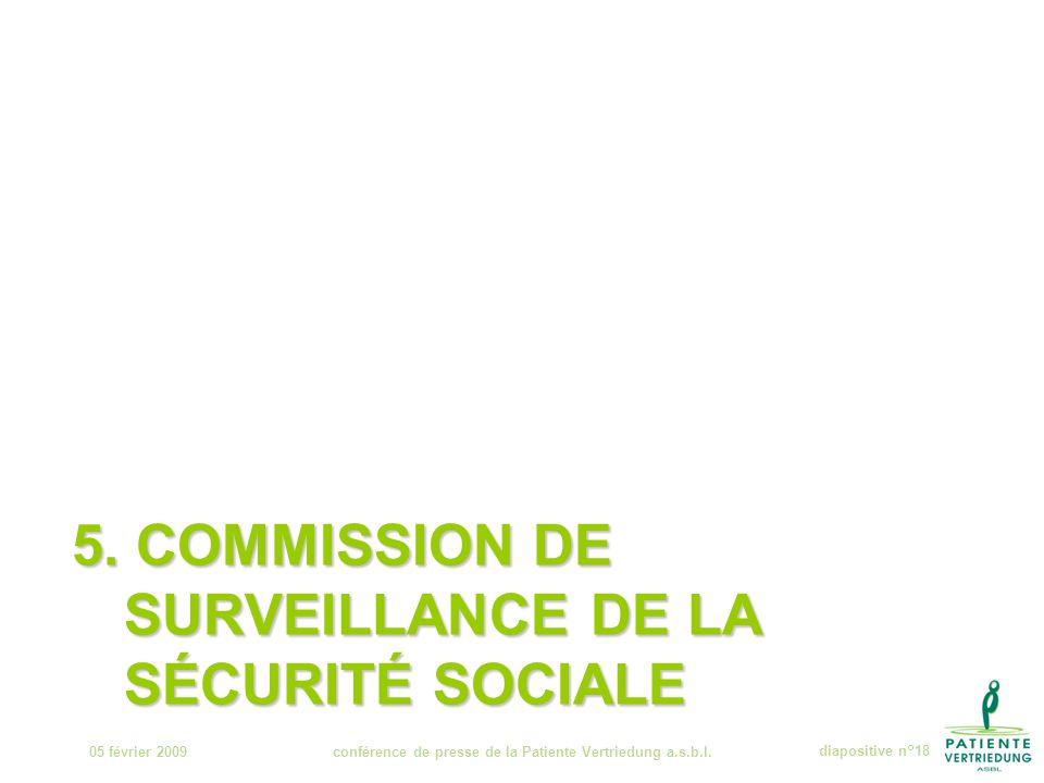 5. COMMISSION DE SURVEILLANCE DE LA SÉCURITÉ SOCIALE 05 février 2009conférence de presse de la Patiente Vertriedung a.s.b.l.diapositive n°18