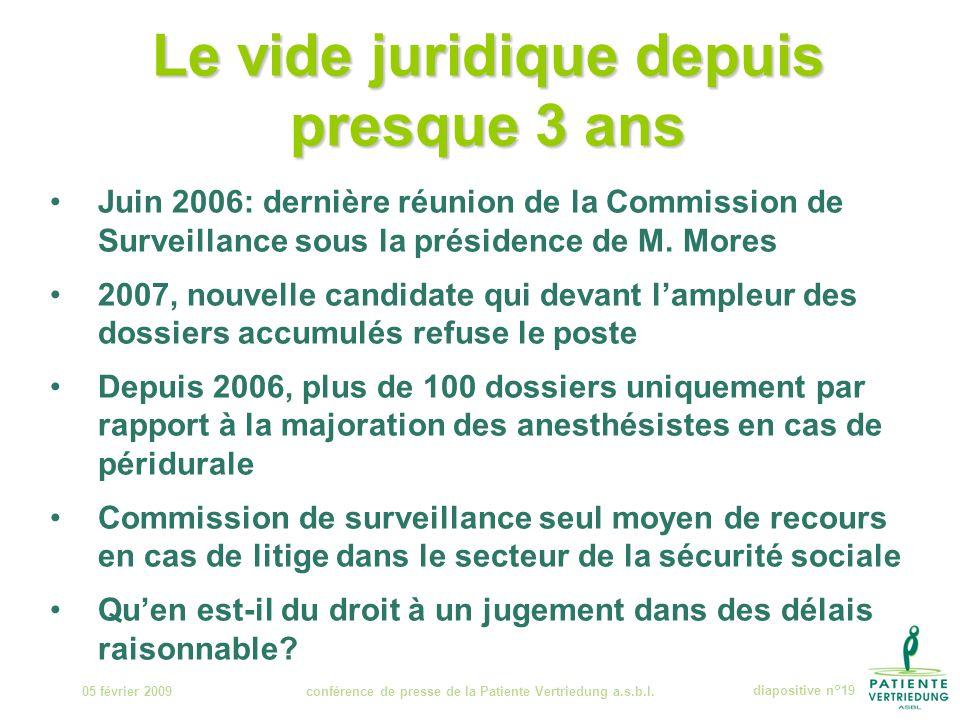 Le vide juridique depuis presque 3 ans 05 février 2009conférence de presse de la Patiente Vertriedung a.s.b.l.