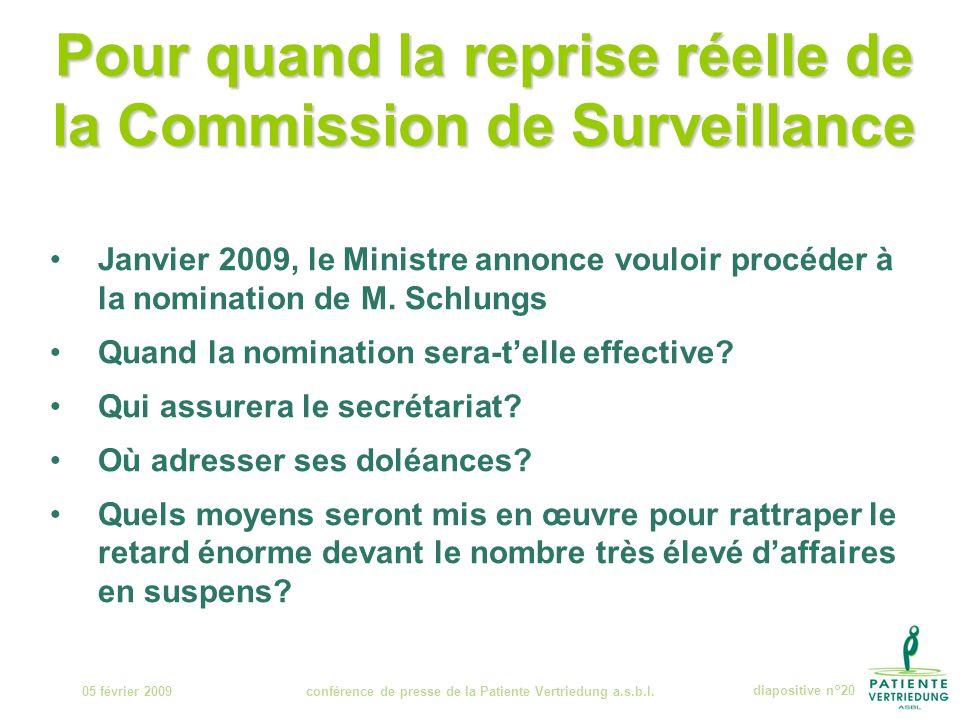 Pour quand la reprise réelle de la Commission de Surveillance 05 février 2009conférence de presse de la Patiente Vertriedung a.s.b.l.