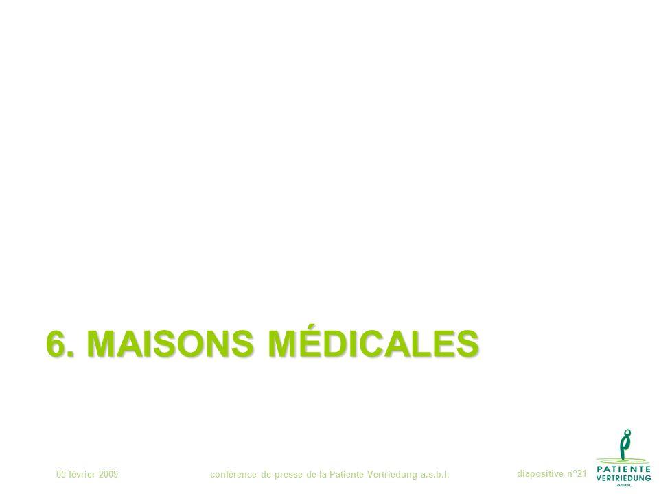 6. MAISONS MÉDICALES 05 février 2009conférence de presse de la Patiente Vertriedung a.s.b.l.diapositive n°21