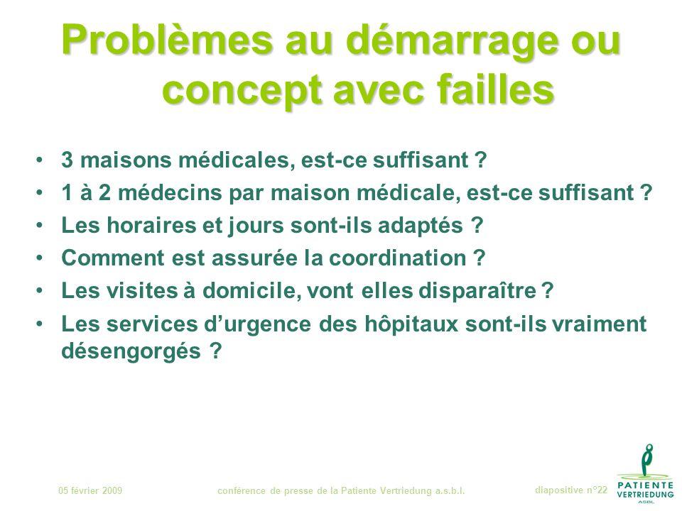 Problèmes au démarrage ou concept avec failles 3 maisons médicales, est-ce suffisant .