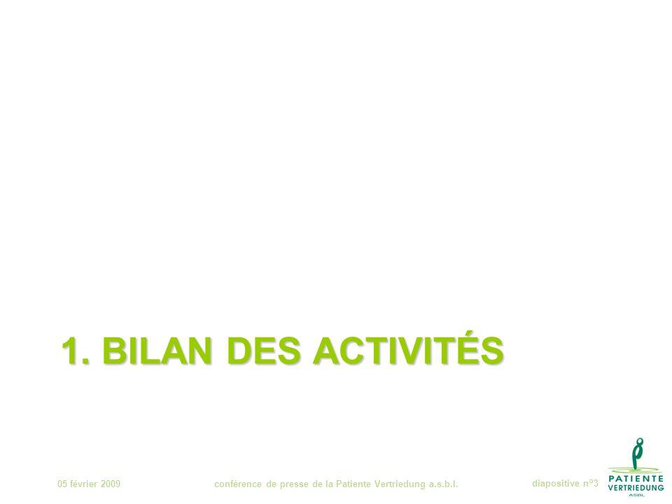 1. BILAN DES ACTIVITÉS 05 février 2009conférence de presse de la Patiente Vertriedung a.s.b.l.diapositive n°3