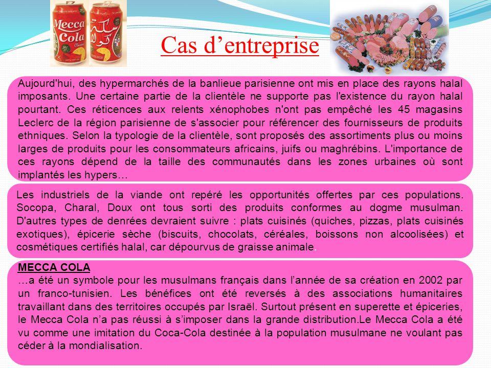 Cas d'entreprise Aujourd'hui, des hypermarchés de la banlieue parisienne ont mis en place des rayons halal imposants. Une certaine partie de la client