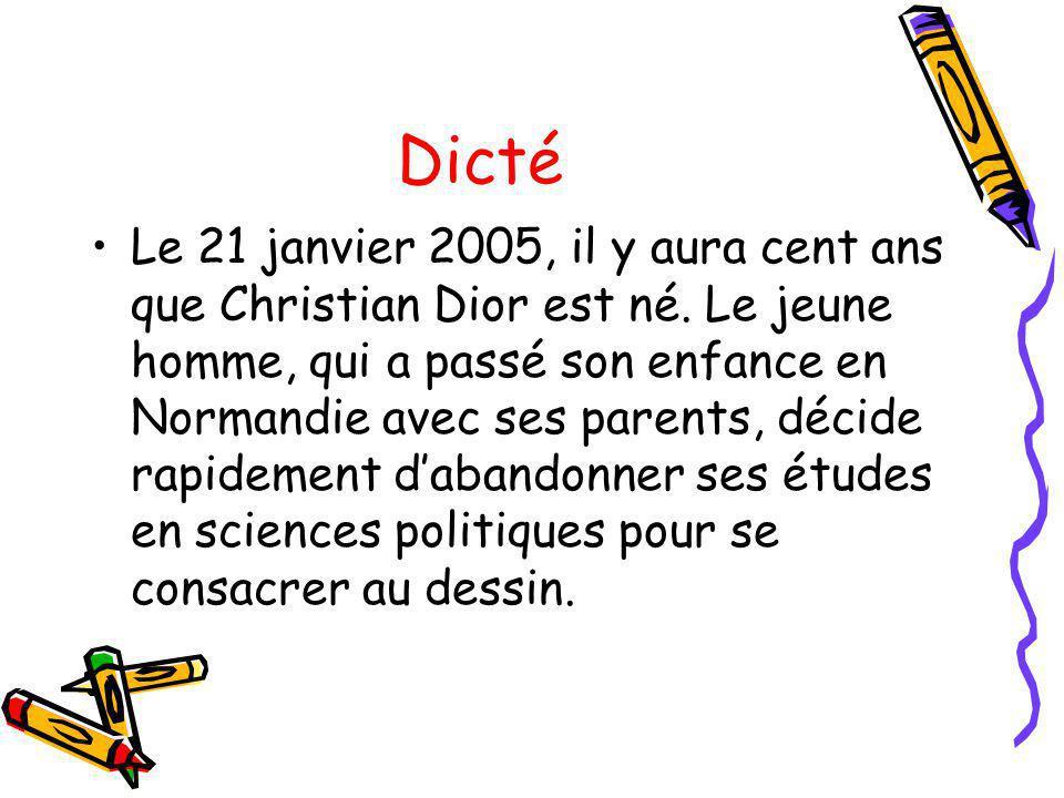 Dicté Le 21 janvier 2005, il y aura cent ans que Christian Dior est né. Le jeune homme, qui a passé son enfance en Normandie avec ses parents, décide