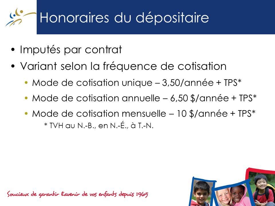 Honoraires du dépositaire Imputés par contrat Variant selon la fréquence de cotisation Mode de cotisation unique – 3,50/année + TPS* Mode de cotisation annuelle – 6,50 $/année + TPS* Mode de cotisation mensuelle – 10 $/année + TPS* * TVH au N.-B., en N.-É., à T.-N.