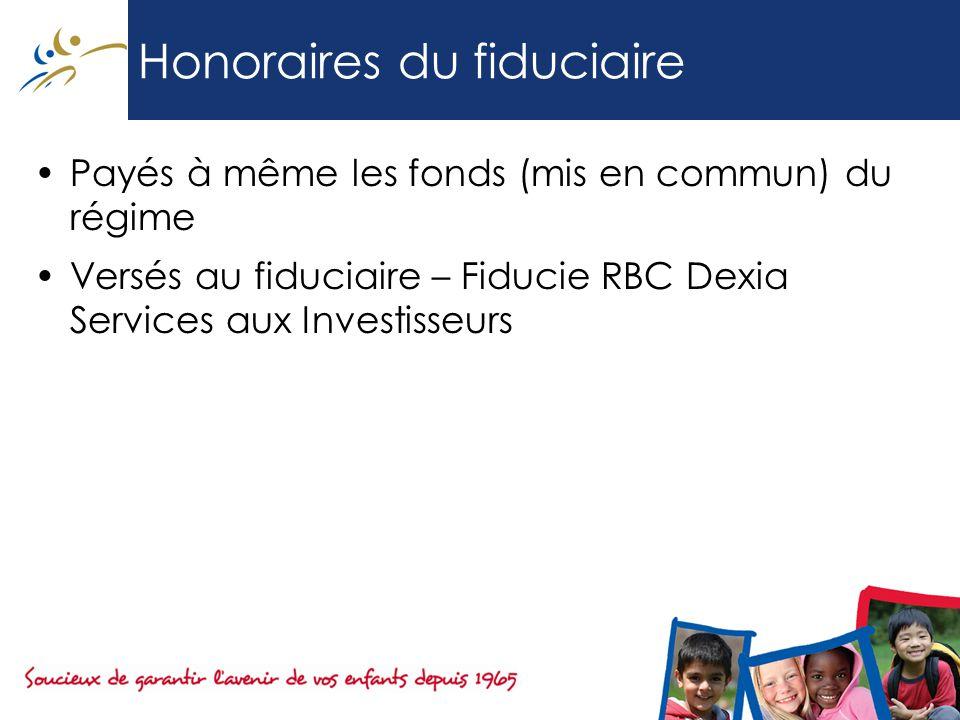 Honoraires du fiduciaire Payés à même les fonds (mis en commun) du régime Versés au fiduciaire – Fiducie RBC Dexia Services aux Investisseurs
