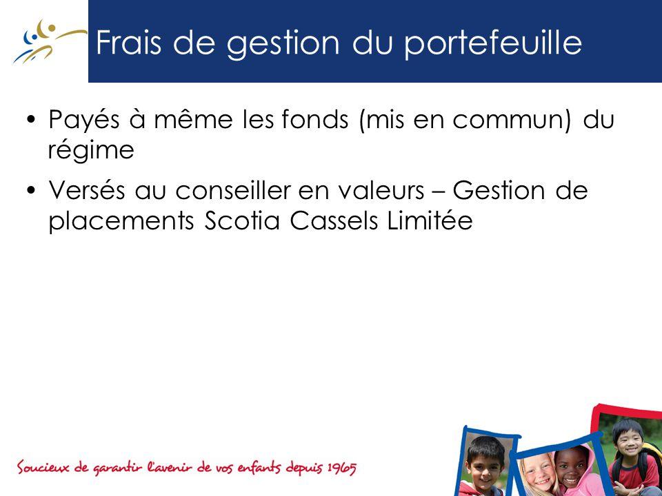 Frais de gestion du portefeuille Payés à même les fonds (mis en commun) du régime Versés au conseiller en valeurs – Gestion de placements Scotia Cassels Limitée