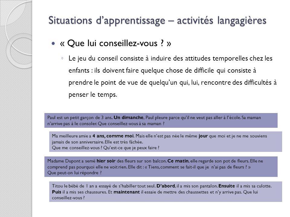Situations d'apprentissage – activités langagières « Que lui conseillez-vous ? » ◦ Le jeu du conseil consiste à induire des attitudes temporelles chez