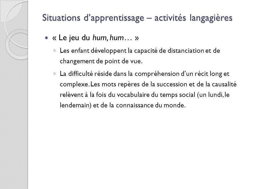 Situations d'apprentissage – activités langagières « Le jeu du hum, hum… » ◦ Les enfant développent la capacité de distanciation et de changement de p