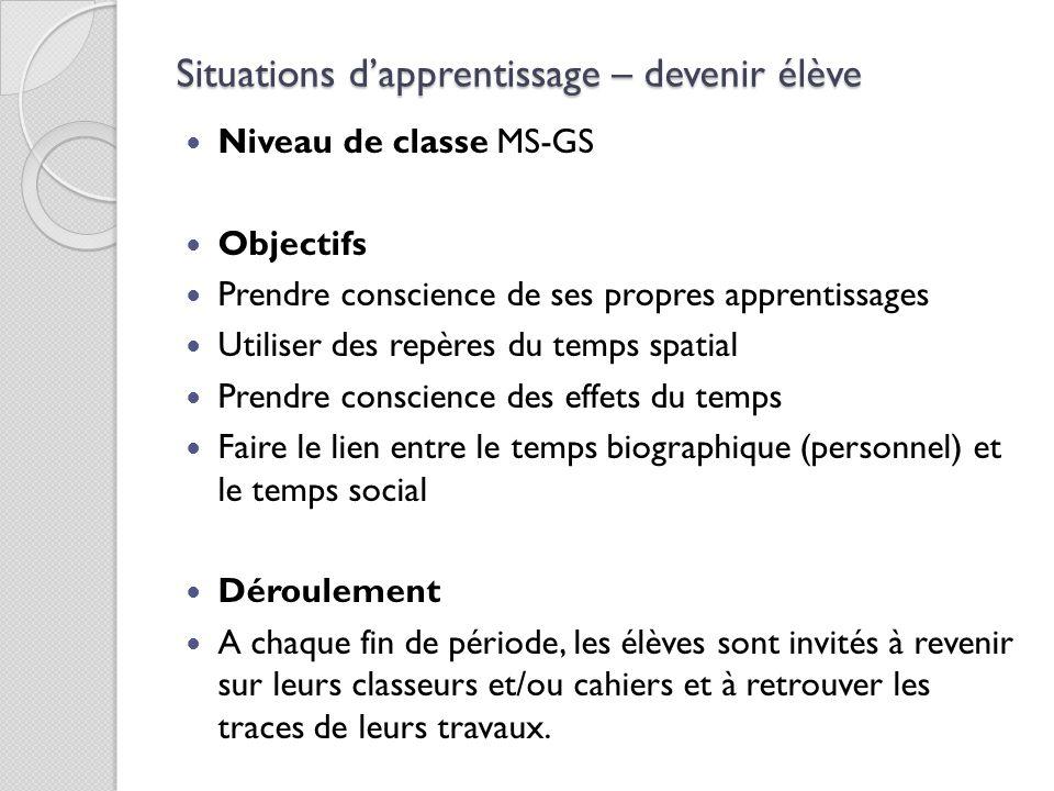 Situations d'apprentissage – devenir élève Niveau de classe MS-GS Objectifs Prendre conscience de ses propres apprentissages Utiliser des repères du t