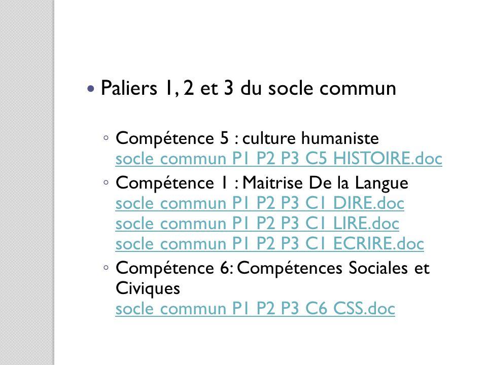 Paliers 1, 2 et 3 du socle commun ◦ Compétence 5 : culture humaniste socle commun P1 P2 P3 C5 HISTOIRE.doc socle commun P1 P2 P3 C5 HISTOIRE.doc ◦ Com