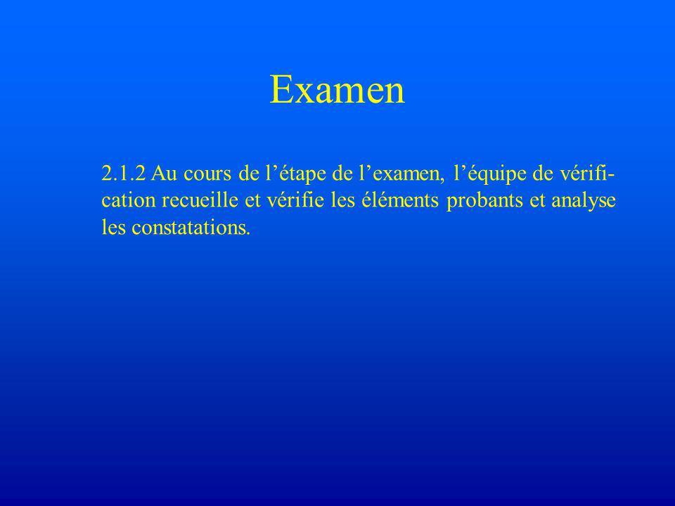 Examen 2.1.2 Au cours de l'étape de l'examen, l'équipe de vérifi- cation recueille et vérifie les éléments probants et analyse les constatations.