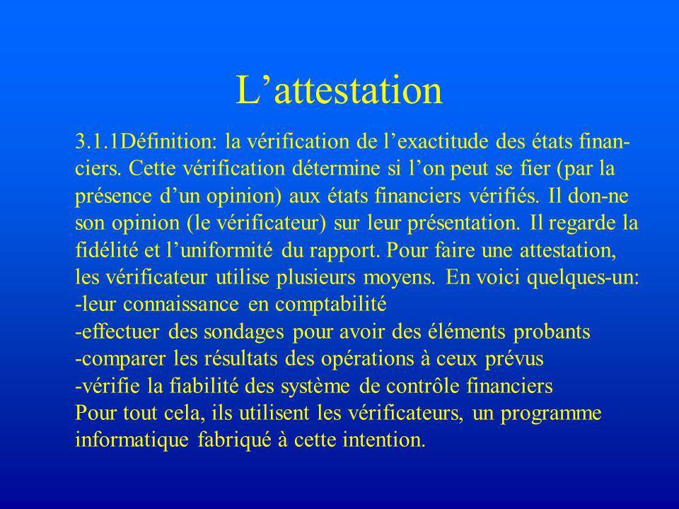 L'attestation 3.1.1Définition: la vérification de l'exactitude des états finan- ciers.