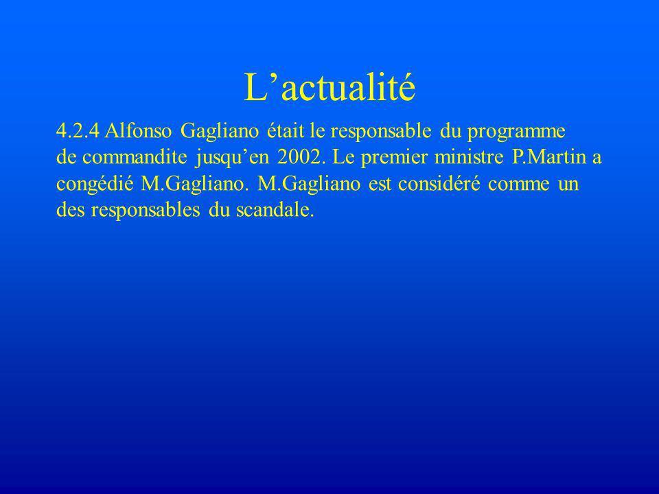 L'actualité 4.2.4 Alfonso Gagliano était le responsable du programme de commandite jusqu'en 2002.