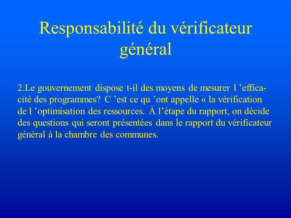 Vérification de l'optimisation des ressources 2.1.À l'étape du rapport, on décide des questions qui seront présentées dans le rapport du vérificateur général à la Chambre des communes.
