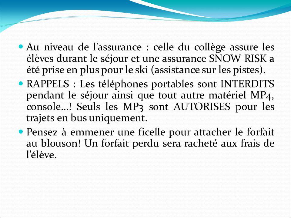 Au niveau de l'assurance : celle du collège assure les élèves durant le séjour et une assurance SNOW RISK a été prise en plus pour le ski (assistance