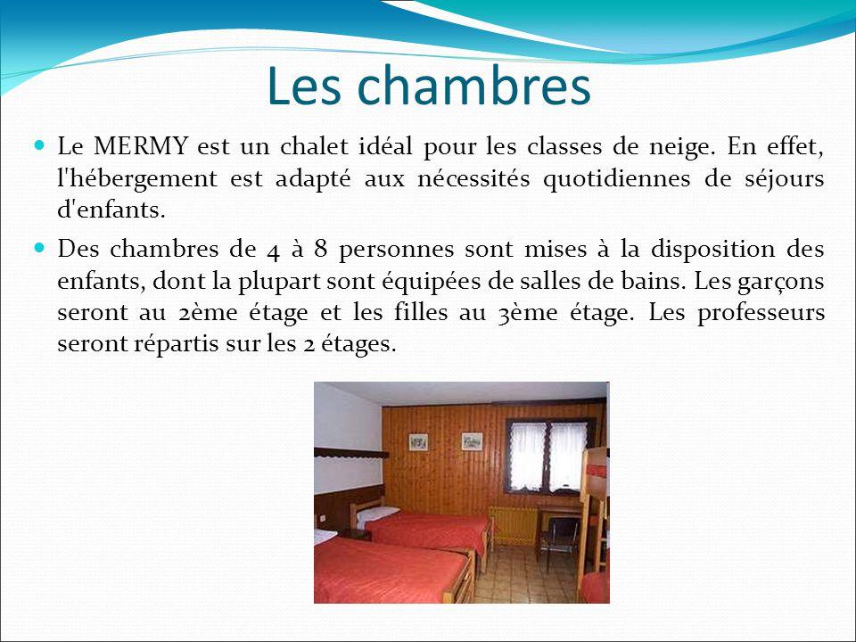 Les chambres Le MERMY est un chalet idéal pour les classes de neige. En effet, l'hébergement est adapté aux nécessités quotidiennes de séjours d'enfan