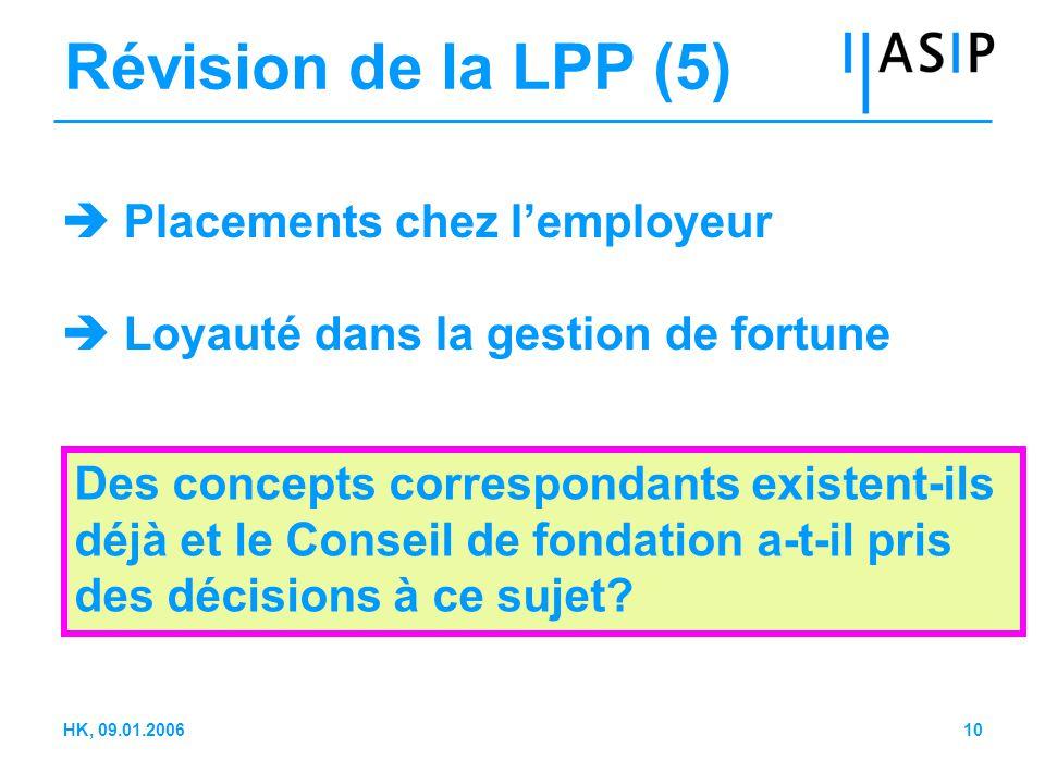10HK, 09.01.2006 Révision de la LPP (5)  Placements chez l'employeur  Loyauté dans la gestion de fortune Des concepts correspondants existent-ils déjà et le Conseil de fondation a-t-il pris des décisions à ce sujet?