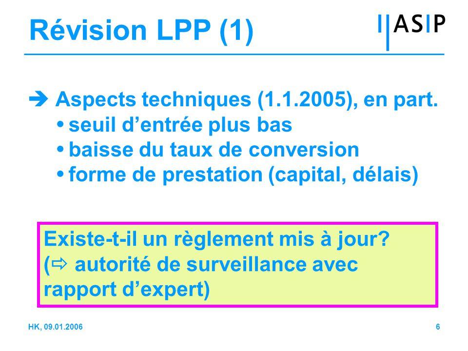 7HK, 09.01.2006 Révision de la LPP (2)  Liquidation partielle (1 er janvier 2005)  Questions (conditions; maintien de l'égalité de traitement; fonds de bienfaisance) Un règlement a-t-il été mis au point ou un processus de discussion a-t-il été lancé.