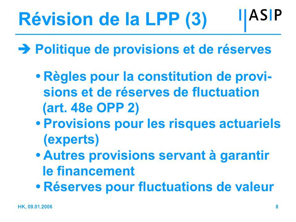 8HK, 09.01.2006 Révision de la LPP (3)  Politique de provisions et de réserves  Règles pour la constitution de provi- sions et de réserves de fluctuation (art.